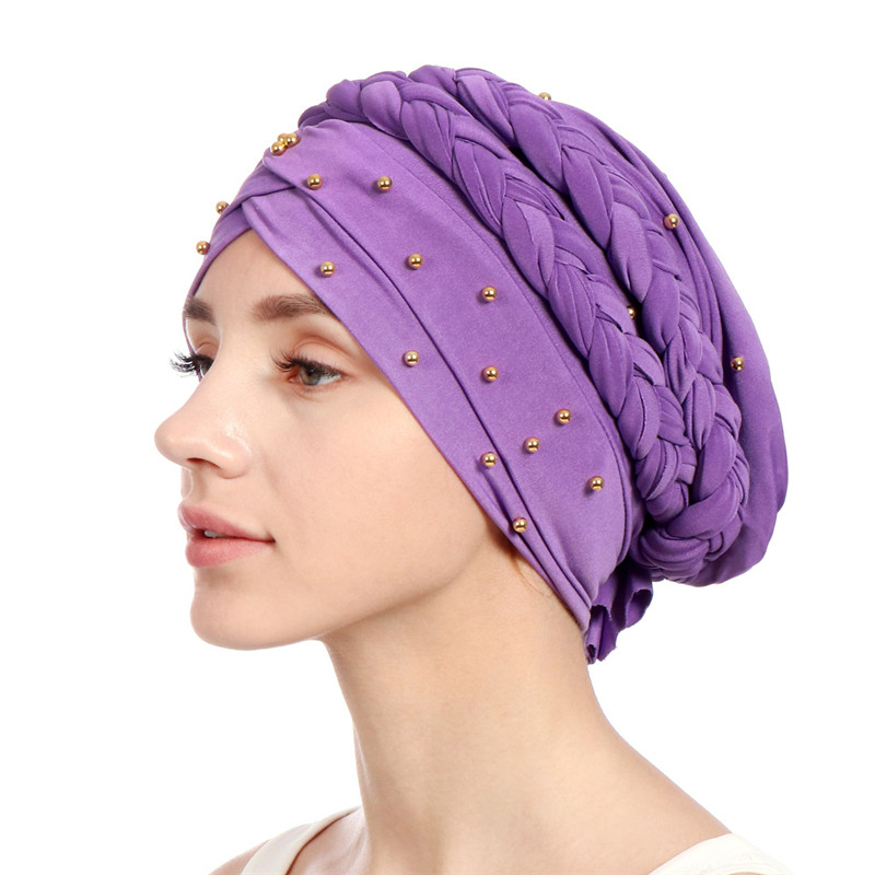 2019 New design Muslim   Skullies   &   Beanies   Mesh&velvet scarf cap for women luxury brand Pearl headscarf African wrap Turban hat