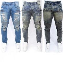 Hirigin Jeans Mens Jeans Stylish Ripped Denim Pencil Pants Fashion Scratched Stright Slim Frayed Biker Jeans Cool Streetwear