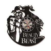 Beauty and the Beast Hollow Creative LED Record Clock People and Flower Antique Film Style 3D Wall Clock Wall Art Decor