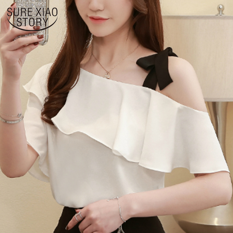 fashion 2019 white shirt chiffon blouse womens clothing plus size tops women tops women shirts blusas femininas elegante 3894 50(China)