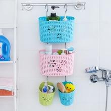 Thickening plastic multi-purpose storage basket bathroom basket sundries storage basket hanging basket Storage Boxes & Bins guidecraft mission storage bench and bins