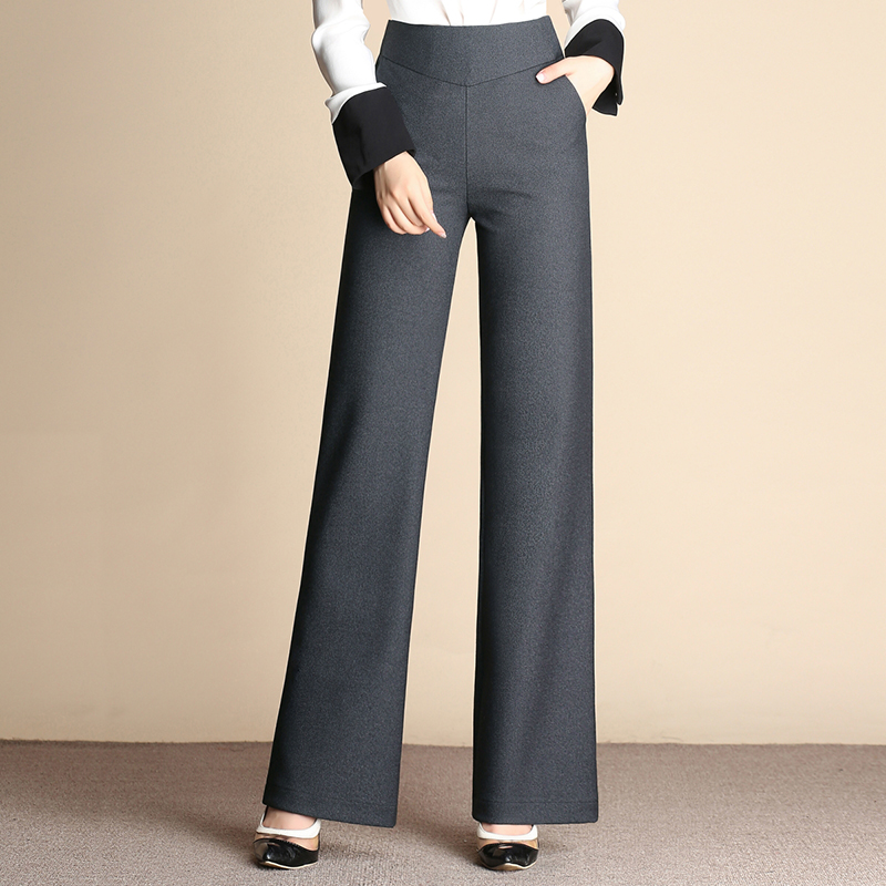 Wide leg pants for women plus size 4 solid colour black gray brown high waist new fashion OL trousers female full length sy50701 inc new solid deep black women s size 2 tapered leg two pocket pull on pants $69