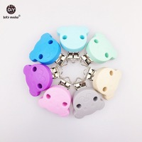 Let's Make Pacifier Chain Clip Pacifier Clip 5pc Silicone Clip Selectable Silicone Teething Beads Suspender Clip Beads