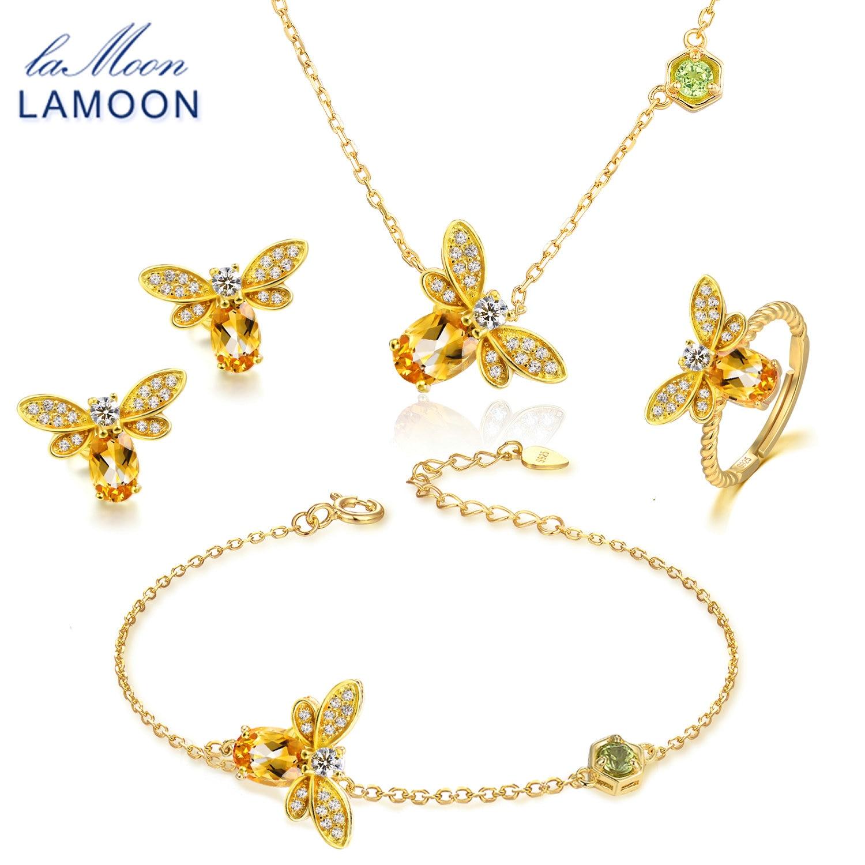 LAMOON пчелы 1ct 100% Природный Овальный Ювелирные изделия с цитрином комплекты 925 пробы-серебро-бижутерия, серьги кольца браслет Цепочки и ожерел...