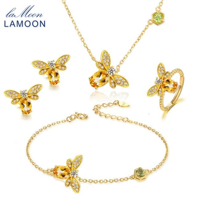 LAMOON Bee 1ct 100% ensembles de bijoux ovales naturels Citrine 925 sterling-argent-bijoux boucles d'oreilles bagues Bracelet collier femmes V027-5