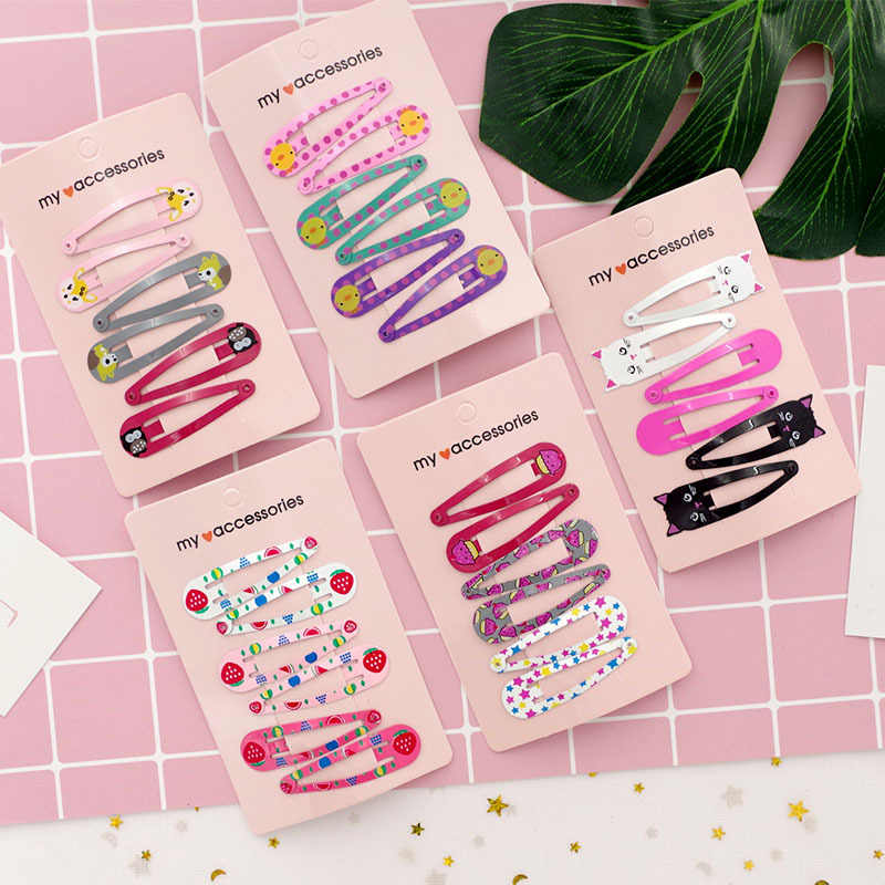 6 PCS New Cute Cartoon Metal Printing Colour Animal Baby BB Clips Girls Hairpins Hair Clip Kids Headwear Children Accessories