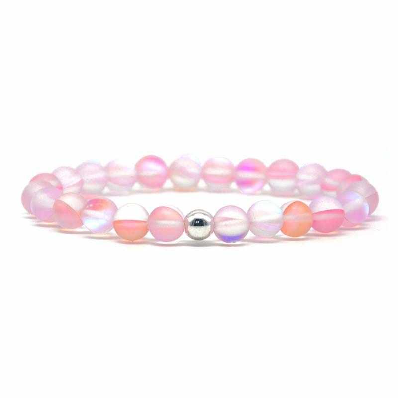 Sirena de moda Natural piedra de Luna pulseras de cuentas de vidrio elástico pulsera para mujeres y hombres Dropshipping
