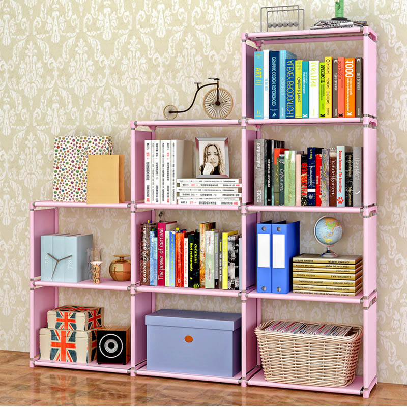 Simple multi-story bookcase free to assemble Non-woven stainless steel multipurpose shelves Removable shelves Home furniture 360 degree rotation simple bookshelves multi storey floor bookcase shelves children s dormitory shelter