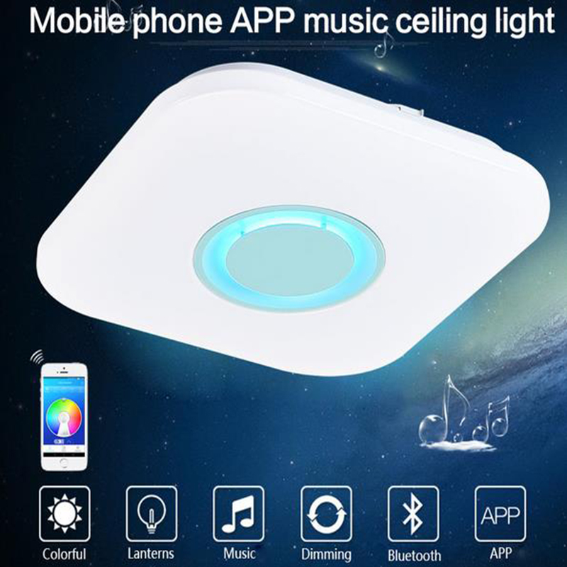 Led Music Ceiling Light Bluetooth Speaker 24w 90-265v Dimmable Drop Ceiling Lamp Rgb Home Party Light With App Remote Control Lights & Lighting