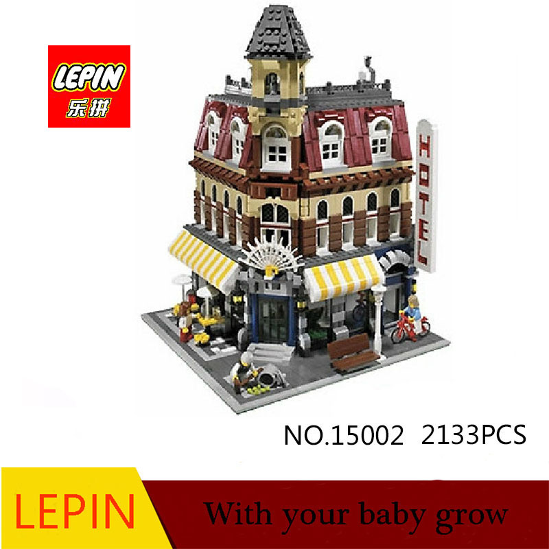 DHL Lepin 15002 2133Pcs City Street Create Cafe Corner Model Building Kits Set Blocks Compatible With legoed city 10182 new lepin 16009 1151pcs queen anne s revenge pirates of the caribbean building blocks set compatible legoed with 4195 children