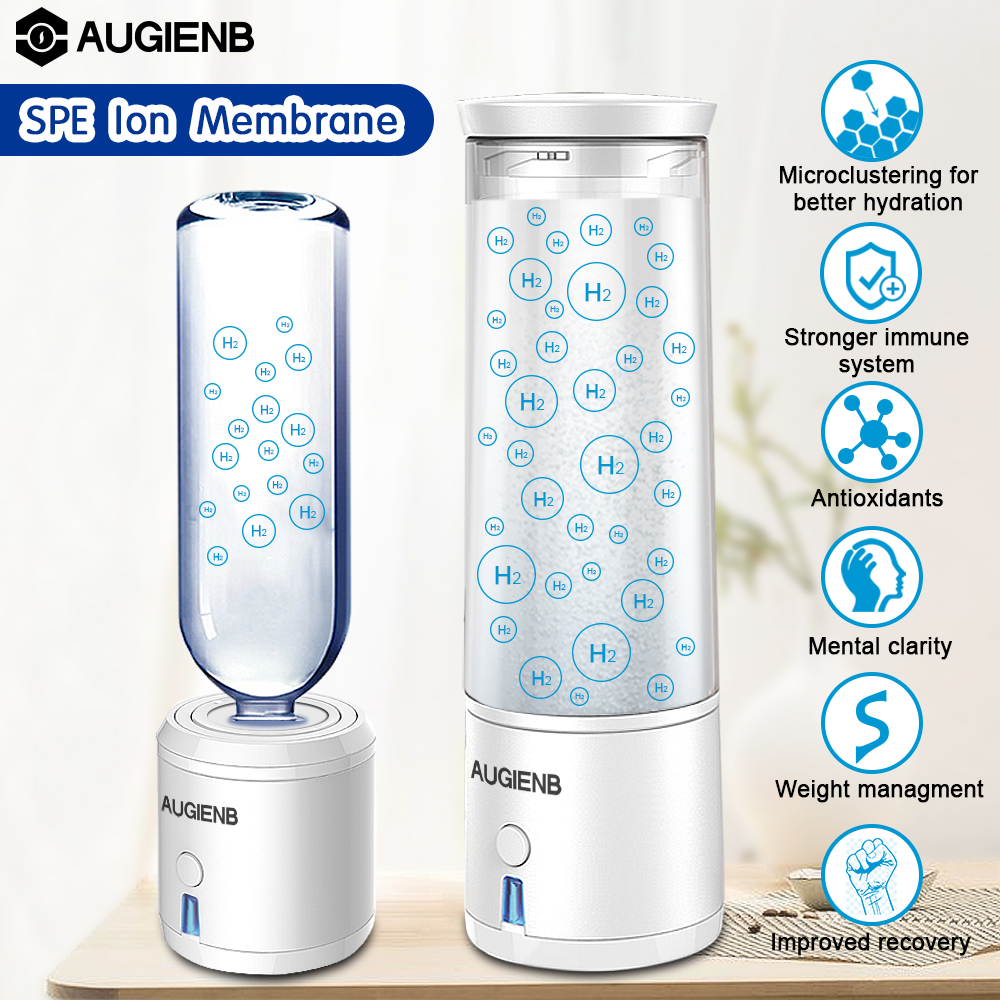AUGIENB 300ml SPE PEM Hydrogen Water Bottle Ionizer Generator Maker Energy Cup BPA-free Healthy Anti-Aging Rechargeable Gift water bottle