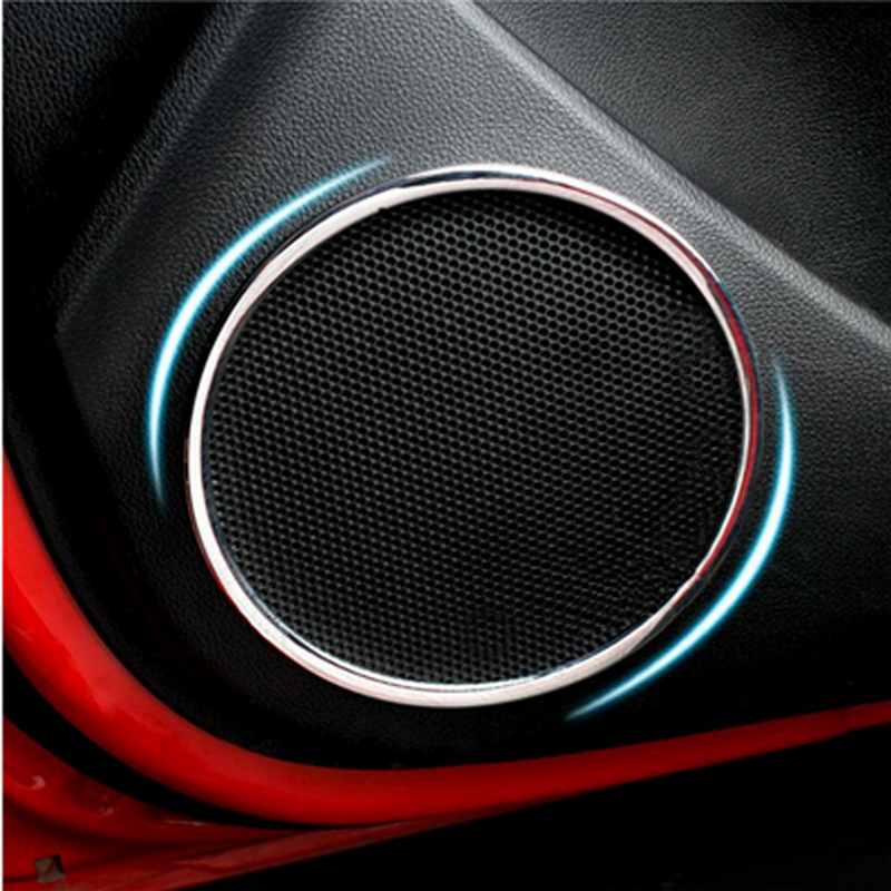 Car-Styling Car Accessories Door Speaker Trim Cover Car Sticker For Kia Rio K2 2011 2012 2013 2014 Abs Chrome 4Pcs Per Set car styling side body trim decoration trim for subaru xv 2012 2013 2014 2015 abs chrome 4pcs per set