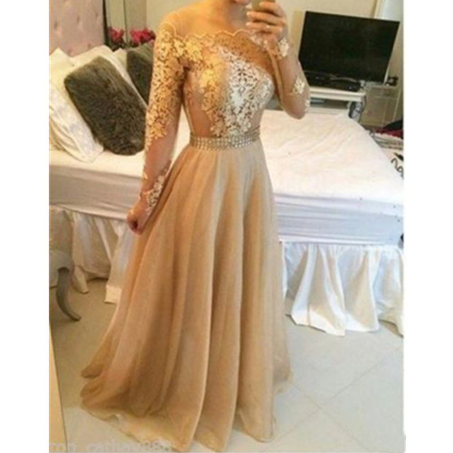 Full Sleeve Prom Dresses 2017 A Line Dark Champagne Tulle Appliques ...
