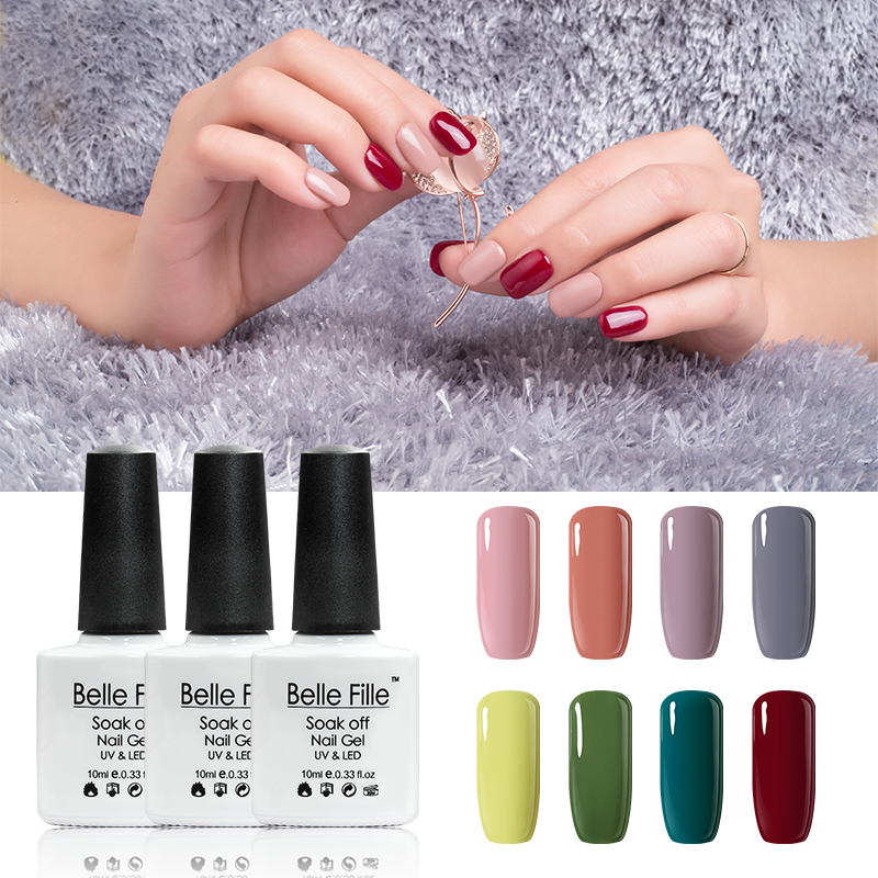 BELLE FILLE UV Nail Gel Polish Soak Off salmon pink nude color Professional vernis semi permanent Nail Art fingernail polish