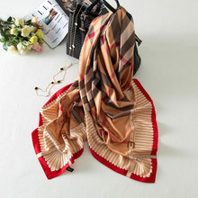 130×130 British Plaid Silk Square Scarf Brand Women Shawls Tartan Foulard carre soie femme Beach Wrap New