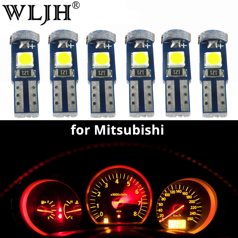 WLJH 6x T5 LED 74 Light 3030SMD Car Dashboard Instrument Panel Light Bulb For Mitsubishi Lancer Eclipse Galant Outlander Precis