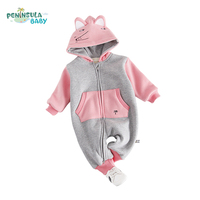 Newborn Baby Clothes Hooded Autumn Spring Long Sleeves Infant Jumpsuit Fashion Baby Boys Girls Outerwear Cartoon