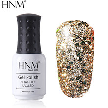 HNM brillo diamante 8ml UV Gel esmalte de uñas pintura Semi permanente Gellak esmalte brillante estampado Base capa superior de la suerte laca(China)