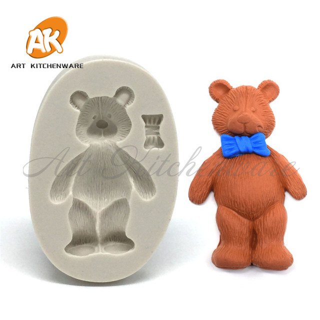 Jungle Animal Cake Template Bear with Tie Silicone Mold Cupcake ...