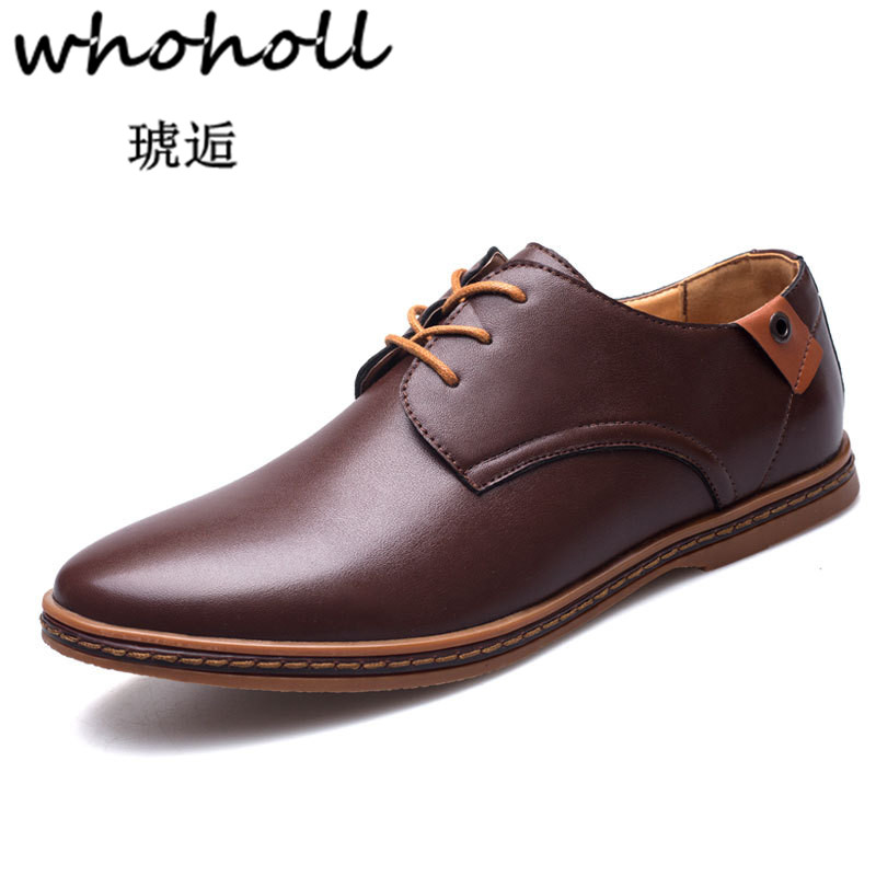 Whoholl Size 47 48 Dress PU Leather Men Dress Shoes Pointed Toe Bullock Oxfords Shoes for Men, Lace Up Designer Luxury Men Shoes new brand designer formal men dress shoes lace up business party oxfords shoes for men pointed toe brogues men s flats plus size