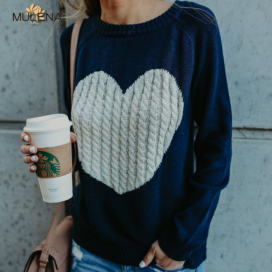 Mulena heart pattern loose sweater women pullover knitted casual o neck full sleeves warm office ladies sweaters autumn winter