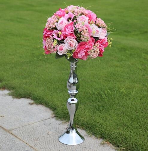10pcslot 47cm Tall Silver Flower Vase With 30cm Diameter Flower