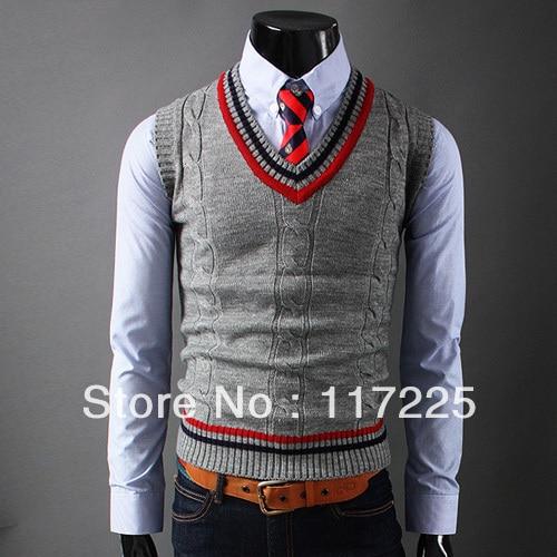 Trui Zonder Mouwen.Men S New Fashion Pullover Sweater Vest Sleeveless V Neck Knitted