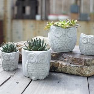 Aibei Creative Cement Owl Garden Pots Planters Succulents