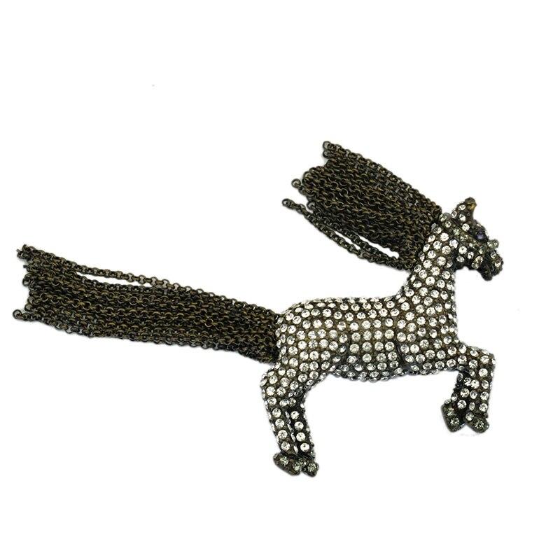 Lebensechte Antike Bronze Kette Quaste Pferd Brosche Pins Vintage Metall Strass Chinesischen Sternzeichen Tier Geschenk
