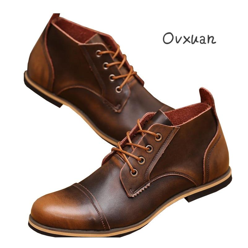 Ovxuan cuero genuino fiesta de citas y boda zapatos de vestir formales hombres italianos Casual negocios Oxfords zapatos masculinos 2017 - 2