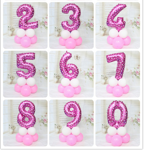 16 Inch Number Inflatable Foil Balloons Digit Helium Ballons Numbers Birthday Party Decorations Kids Wedding Decor Party Supply