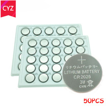50pcs/Lot CR2025 3V Cell Coin Button Battery lithium Li-ion ECR2025 DL2025 BR2025 KL2025 L2025 Watches,clocks toys free shipping
