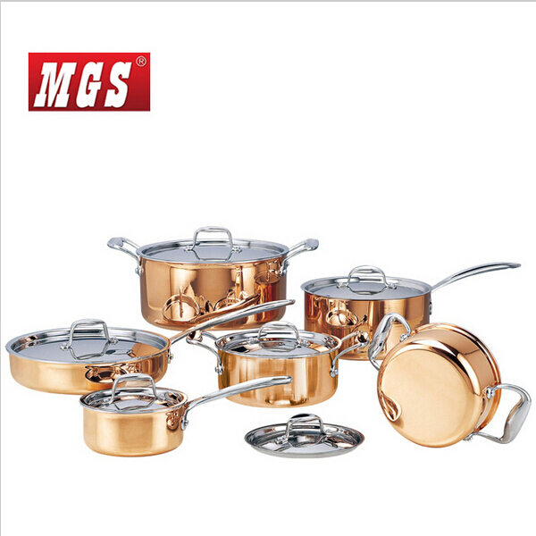 High grade Copper 6 Pieces Cooking Pots With Frying Pan Stainless Pot Hot Pot And Pans
