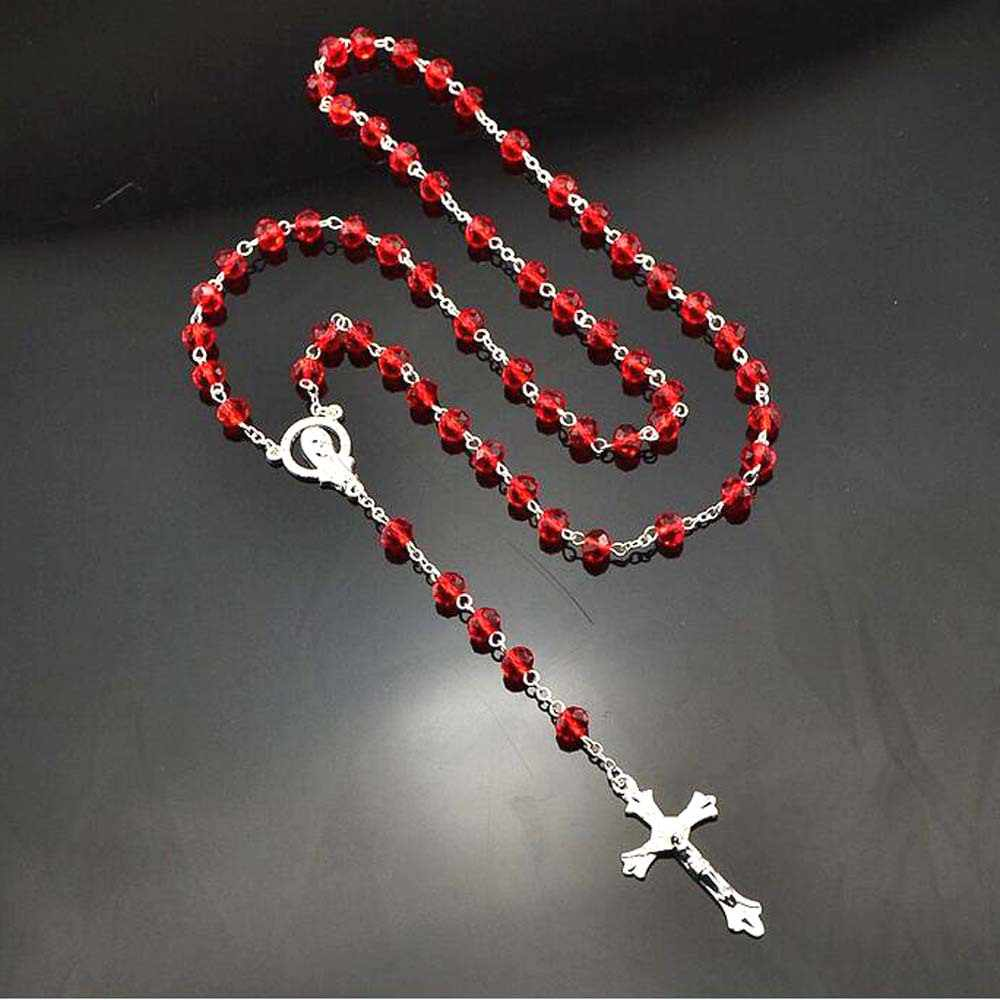 Cross Necklace Beaded Long Chain Necklace Women Men Fashion Jewelry Accessories Alloy Beads Connecting Neck Decorations Necklace