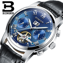2017 New BINGER men's watch luxury brand Tourbillon sapphire luminous multiple functions Mechanical Wristwatches B8601-6