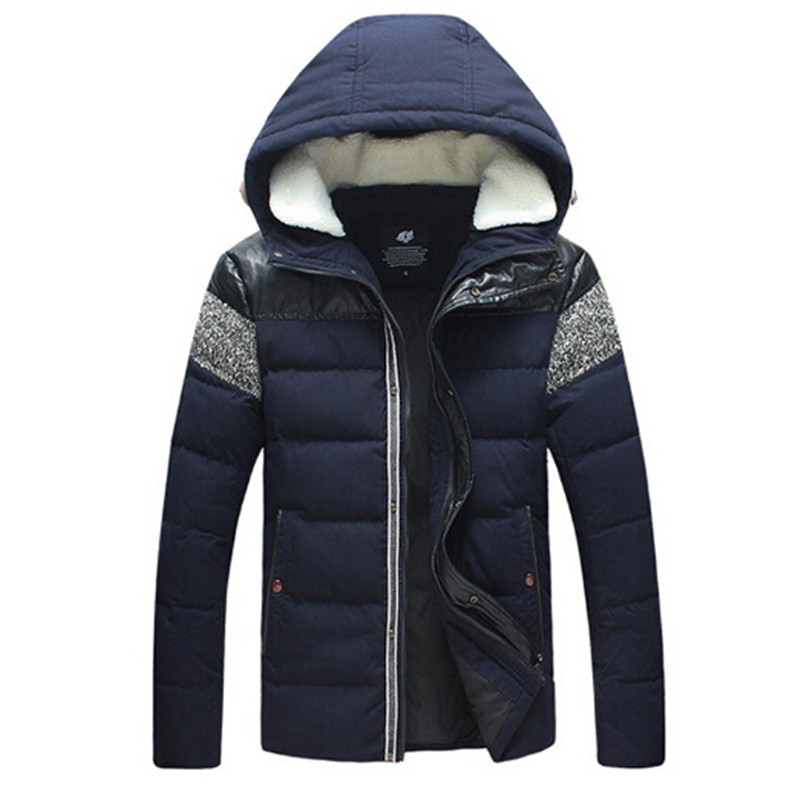 AILOOGE White Duck Down Winter Cotton Jacket Men PU Leather Patchwork Mens Hooded Wool Collar Thick And Warm Jackets Coats