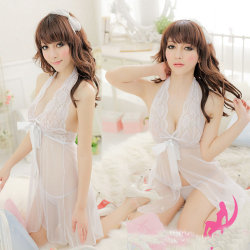 Women Sexy Lace Solid Sleeveless Mini Dress Female Bow Polyester Lingerie+G-string Thong Sleepwear
