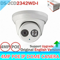 New English Version IP Camera 4.0 megapixel V5.3.3 Multi Language IR Dome Camera IP Camera Outdoor DS-2CD2342WD-I