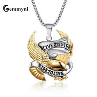 Punk Big Fashion Eagle Necklaces Pendants For Men Maxi Chain Hip Hop Gold Color Jewelry Stainless