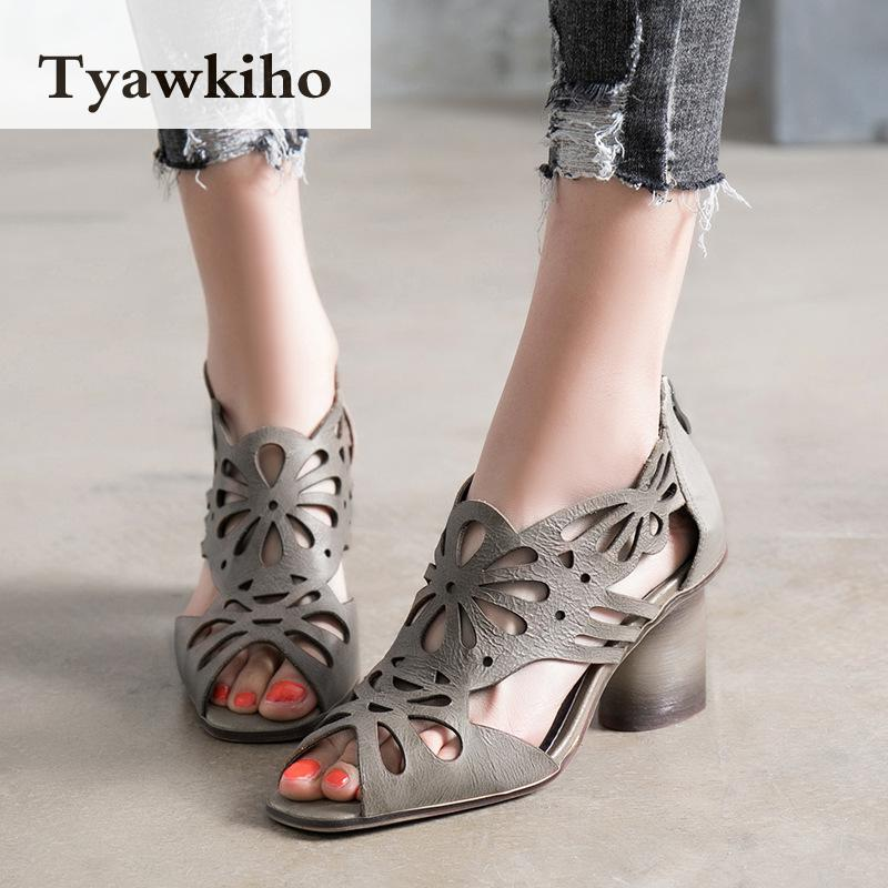Tyawkiho Genuine Leather Women Sandals Rome Summer Shoes Hollow Out 8 CM High Heels Sandal Boots 2018 Retro Wome Shoes Handmade tyawkiho genuine leather women slippers flower summer shoes 6 cm high heels red hollow out slippers retro handmade women shoes