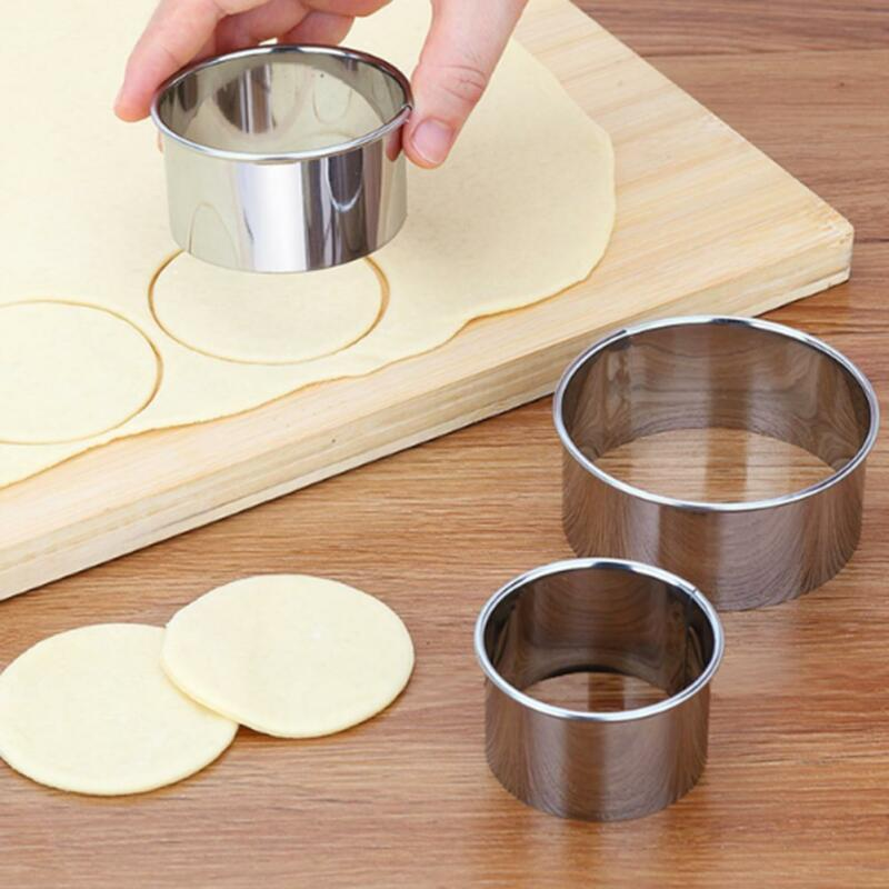 3pcs/set Stainless Steel Cut Dumplings Skin Mold DIY Kitchen Wrappers Round Cookie Pastry Baking Utensils Cutting Maker Tools(China)