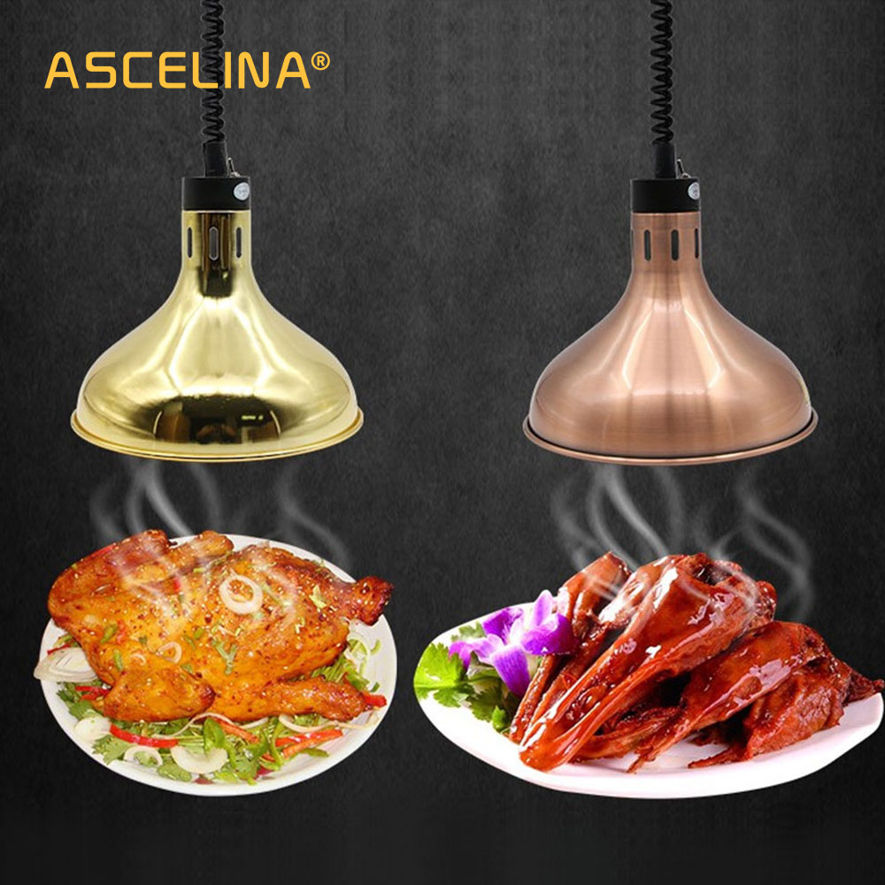 Heat Lamp 250W Electric Heat Lamp Food Heat Preservation Pendant Light Adjustable Kitchen Fixtures Restaurant Hanging Lights