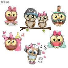 Prajna Owl Family Iron On Transfer Owls Baby Dad Mother Hot Press Patches For Clothing Baby Dress DIY Bag Music Birds Stickers(China)