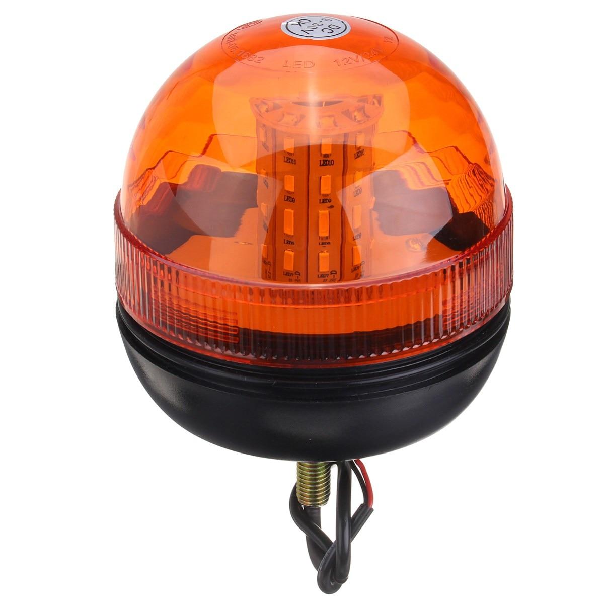 NEW LED Rotating Flashing Amber Beacon Flexible 1 Bolt Tractor Warning Light 9-30V Traffic Light Roadway