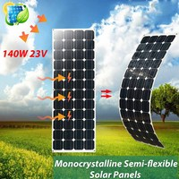 KINCO 140W 23V Semi flexible Solar Panels Monocrystalline DIY Solar Cell Light Weight System For Car Battery With 1.5m Cable