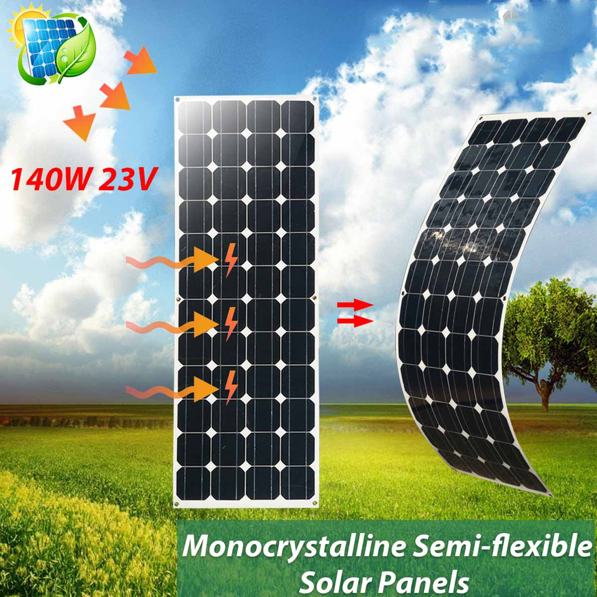 KINCO 140W 23V Semi-flexible Solar Panels Monocrystalline DIY Solar Cell Light Weight System For Car Battery With 1.5m Cable
