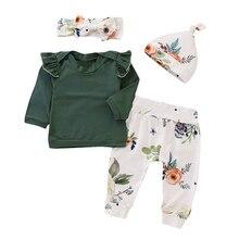 Baby Girls Boys Clothes 4PCS Toddler Baby Girls Floral Print Top Pants Cap Headband Ruffles Outfits Set roupa Infanti Cotton цена 2017