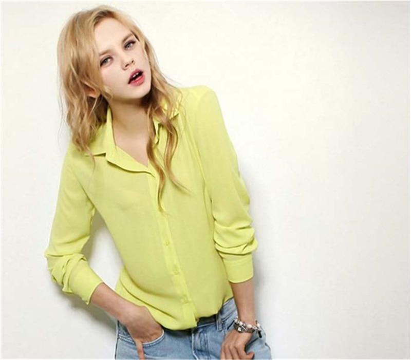 100pcs/lot Women's Shirt Solid Color Long Sleeve Large Size Chiffon Shirt Comfortable Slim Office Top 5 Colors 4
