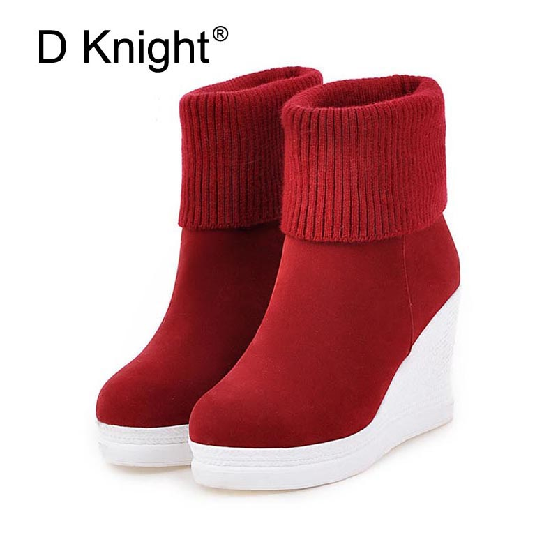Women Platform Wedges Ankle Boots Fashion Round Toe Slip-on Winter Boots Ladies Casual High Heels Winter Shoes Size 34-43 Boots enmayer bling platform shoes woman round toe ankle boots for women high heels zippers white shoes plus size 34 47 winter boots