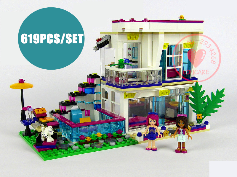 New heartlake Livi's Pop Star House fit legoings Friends figures city model Building Blocks bricks Toy 41135 gift kid diy toys 2018 new friends model building blocks toys snow resort chalet kid bricks toy girls 41323 compatible legoes friends gift kid set
